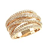 Lavencious Twist Rings Wedding Party Statement Micro Pave Clear CZ Cocktails Rose Gold/Gold Plated Size 5-12