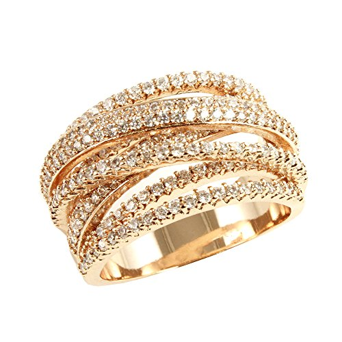 Lavencious Twist Rings Wedding Party Statement Micro Pave Clear CZ Cocktails Rose Gold/Gold Plated Size 6-12 (Rose Gold, 12) by Lavencious