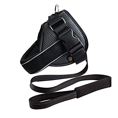 Royal Wise Dog Vest Harness Black Soft Padded For Large Dogs No Pull in Training Walking