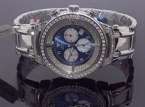 Aqua Master Mens 4.25ctw Diamond Watch - W97B by Aqua Master