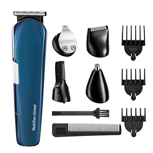 Beard Trimmer,ISIX Hair Clipper, 5 in 1 Lithium Powered Grooming Kit, Multigroom All-In-One Series of Mustache Trimmer, Eyebrow Razor, Nose Hair Trimmer and Precision Trimmer, Rechargeable and Cordle from ISIX