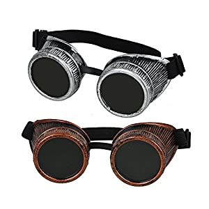 Fontic deals Cyber Punk Gothic Glasses, 2pcs NEW Handcrafted Steampunk Victorian Retro Vintage Welding Goggles Cosplay&Costumes
