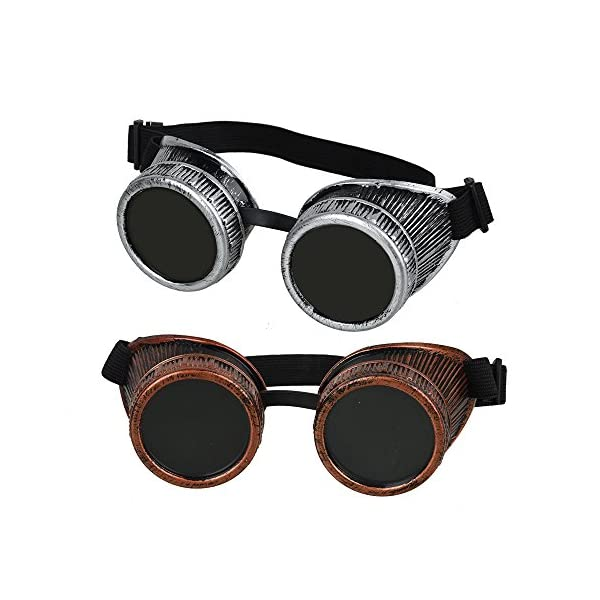 Fontic deals Cyber Punk Gothic Glasses, 2pcs NEW Handcrafted Steampunk Victorian Retro Vintage Welding Goggles Cosplay&Costumes 3