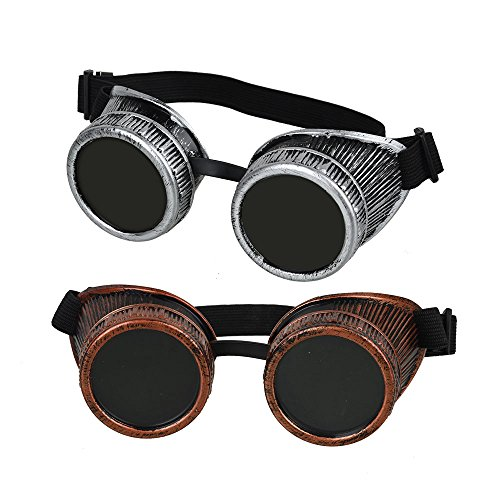 2017 black friday deals Fontic Cyber Punk Gothic Glasses, 2pcs NEW Handcrafted Steampunk Victorian Retro Vintage Welding Goggles for Cosplay&Costumes