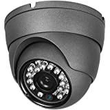 Real HD 1080P Dome HD Analog Outdoor Security Camera (Quadbrid 4-in1 HD-CVI/TVI/AHD/Analog), 2MP 1920x1080, 65ft Night Vision, Metal Housing, 3.6mm Lens Wide Viewing Angle, Black