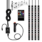 Car LED Strip Light 4pcs 72 LED Multicolor Music Car Interior Light LED Under Dash Lighting Kits DC 12V with Sound Active Function and Wireless Remote Control, Car Charger Included