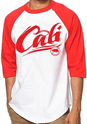 CaliDesign White Red Cali Baseball Jersey Raglan West Coast Tattoo Font T Shirt, 2X - XXL - 2XL
