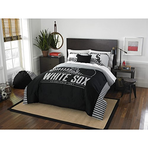 3 Piece MLB White Sox Comforter Full Queen Set, Baseball Themed Bedding Sports Patterned, Team Logo Fan Merchandise Athletic Team Spirit Fan, Grey White Black, (Sox Mlb Pattern)