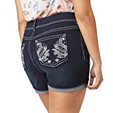 WallFlower Women's Plus Size Luscious Curvy Bling Denim Shorts in Kaylee, 18 Plus