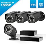 Zmodo 1080p Full HD Outdoor Security Camera System 8 Channel HDMI NVR, sPoE Repeater and 1TB Hard Drive