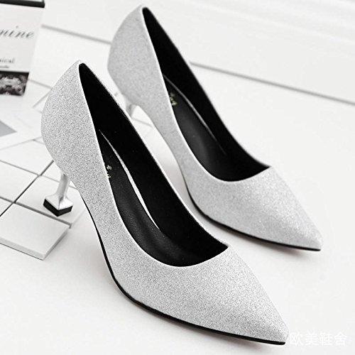 6 De Superficial Honor Dama Punta Alto Bien Primavera en Seis Tacon Plata Negocio Y Pretty Zapatos Mujer treinta Cm Est Kphy Plateado zapatos La Con 4qvEvA