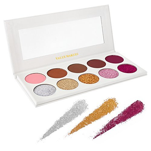 Eyeshadow Makeup Palette, Valuemakers 5 Glitter and 5 Matte Eye Shadows - Mineral Pressed Glitter and Warm Natural Eye Shadow Powder - Highly Pigmented Waterproof Eye Shadows Set (Limited Edition)
