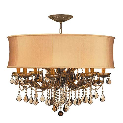 Collection Light Brentwood Twelve (Crystorama 4489-AB-SHG-GTM Crystal Accents 12 Light Chandelier from Brentwood collection in Brass-Antiquefinish,)