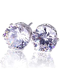 1 Pair Women Rhinestone Crystal Inlaid Ear Studs Golden/Silvery Earrings Boucles D'oreilles