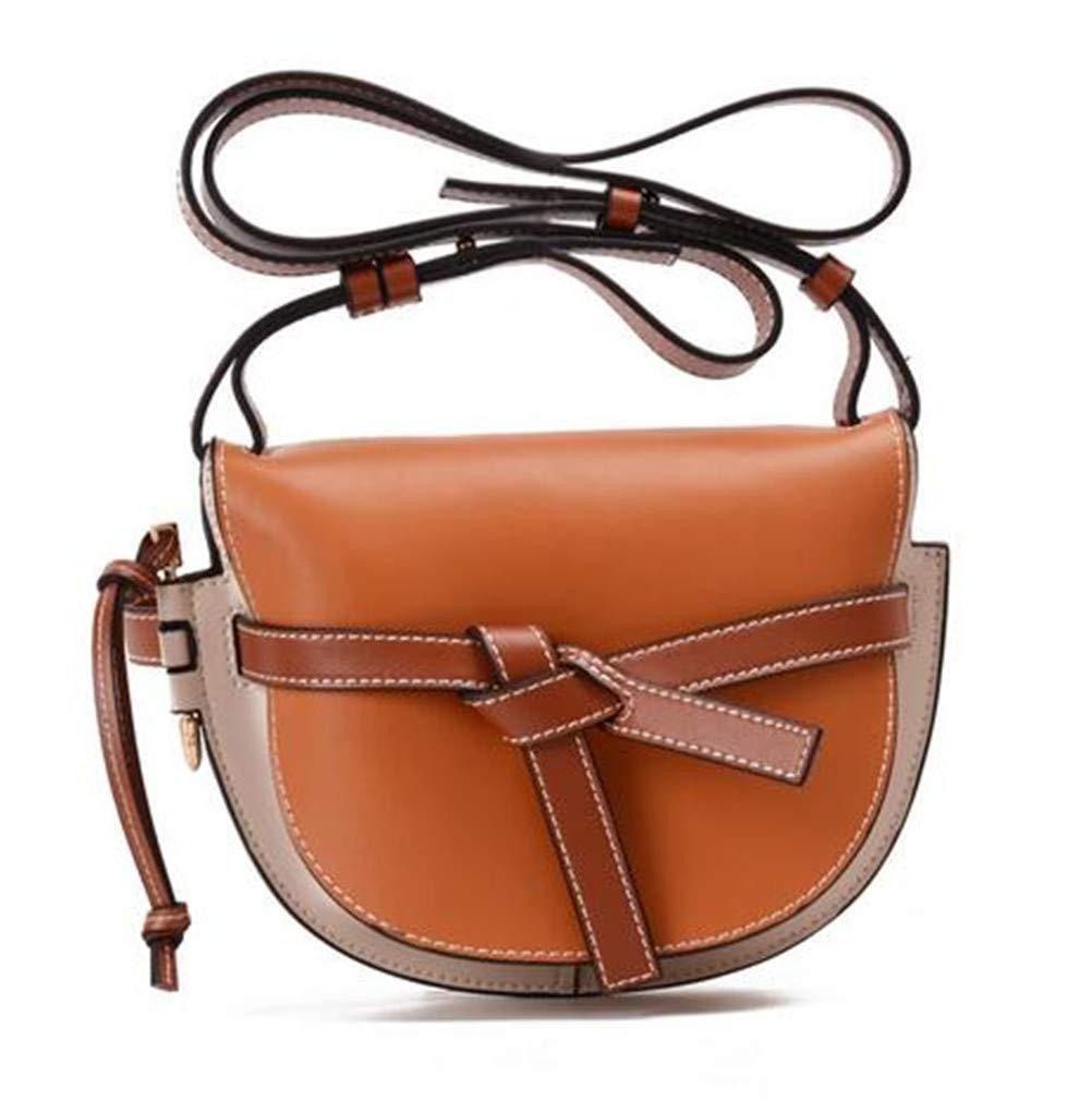 Damen Umhängetasche, Mode Kontrast Bogen Leder Satteltasche Retro Persönlichkeit Outing Shopping Work Schultertasche