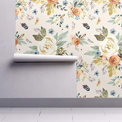 Peel-and-Stick Removable Wallpaper - Boho Watercolor Floral Woodland Floral Woodland Floral Flowers by Shopcabin - 24in x 60in Woven Textured Peel-and-Stick Removable Wallpaper Roll from Spoonflower