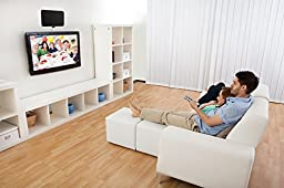 ViewTV Flat HD Digital Indoor Amplified TV Antenna - 50 Miles Range - Detachable Amplifier Signal Booster - 10ft Coax Cable - Black
