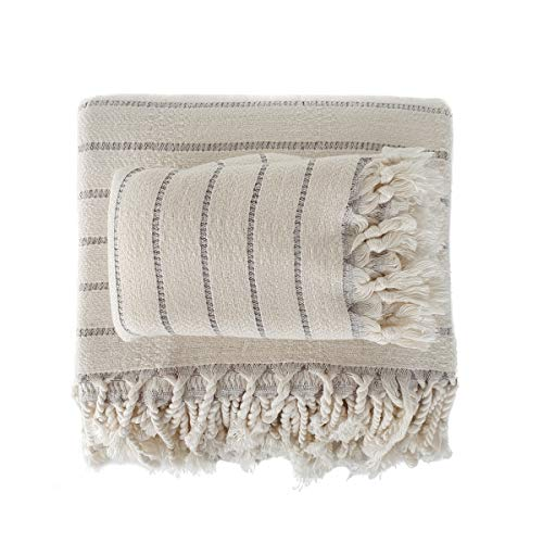 The Loomia Turkish Bath and Hand Towel Set of 2 – Deniz Series Made of Bamboo & Cotton (Extra Large Size, Cream Base Grey Stripes)