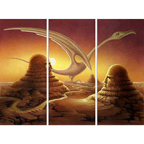 ArtzFolio Surreal Scene of Stone Sculptures in A Desert Split Art Painting Panel On Sunboard 28.3 X 21.4Inch