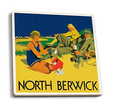 Lantern Press North Berwick, Scotland - Golf Coast - Vintage Promotional Poster (Set of 4 Ceramic Coasters - Cork-Backed, Absorbent)