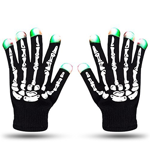 LED Skeleton Gloves ZOETOUCH Finger Lights 6 Modes Rave Gloves Party LED Lighted Gloves For Halloween Costume Christmas Dance Dubstep Party Birthday