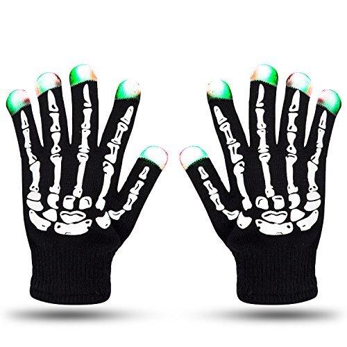 Led Light Skeleton Costume (LED Skeleton Gloves ZOETOUCH Finger Lights 6 Modes Rave Gloves Party LED Lighted Gloves For Halloween Costume Christmas Dance Dubstep Party Birthday)