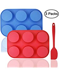 DaKuan 6-Cup Silicone Muffin Mold Bonus with Spatula, 3 pcs pack of Muffin Mold and Spatula Set, Non-Stick Baking Pan, Flexible, Cupcake Pans, Dishwasher, Oven, Microwave Oven Safe. Blue + Red
