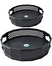 2 Pack Lazy Susan Turntable Organizer,Non-Slip Rotating Storage Container with Handles, Plastic Spice Rack Organizer for Kitchen Cabinets Refrigerators(Black)