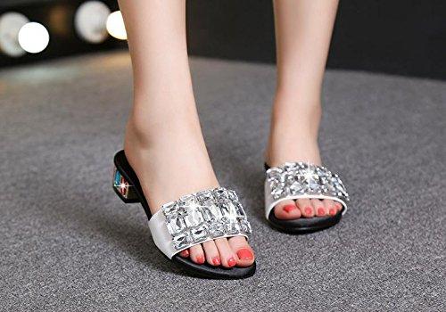 BaiLing Damen Sommer Sandalen Pantoffeln/Mid Heel Offene Zehe/Strass Kleine Größe Weibliche Sandalen Sommer Schuhe, Silver, CN38 - 08cf4b