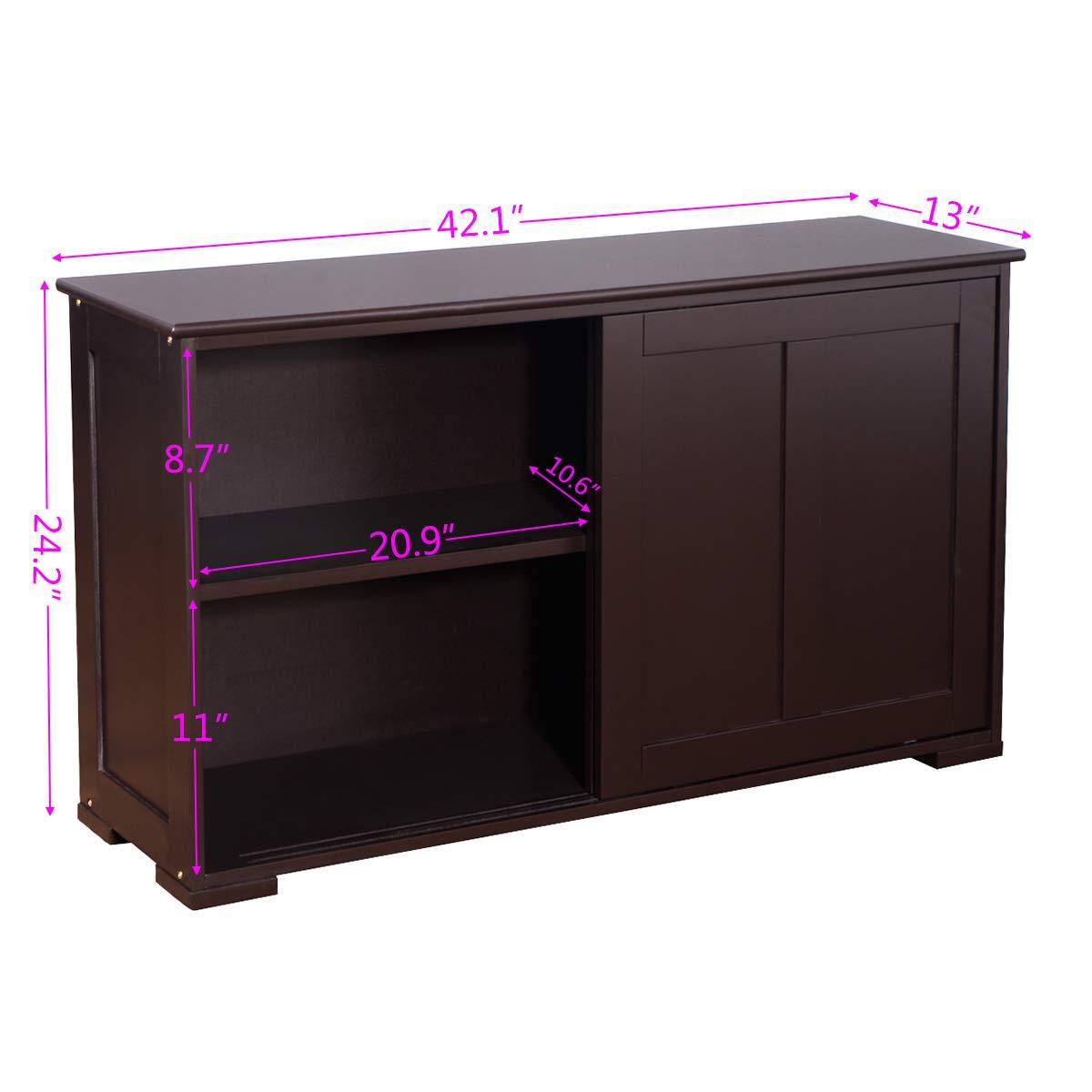 WATERJOY Kitchen Storage Sideboard, Stackable Buffet Storage Cabinet with Sliding Door Panels for Home Kitchen, Antique Brown by WATERJOY (Image #6)