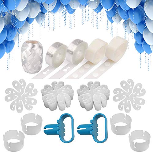 Balloon Arch Garland Decorating Strip Kit 2 Rolls Balloon Decorating Strip 16ft 2 PCS Balloon Tying Tool 2 Rolls 100 Dot Glue 1 PCS 32ft Ribbon 30 PCS Flower Clips 4 PCS Ring Clips for Party Supplies Decorations