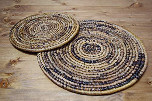 Set of 2 African Trivet (Round, 1 medium size 11'' + 1 small size 8'') - Decorative Banana Fiber Trivet - Africa Gift - Handmade in Rwanda - - One Trivet