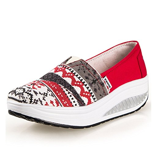 Canvas Walking Slip Platform Sandals Sneakers Womens On Red Fitness Shoes Athetic dg7fqdwZ0