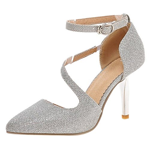 Ankle Silver Strap Sandals Women Heel High FizaiZifai 1wv0TzSv