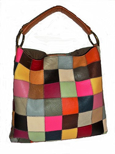 - Kooba Leather Multicolor Patchwork Shoulder Handbag Purse Bag