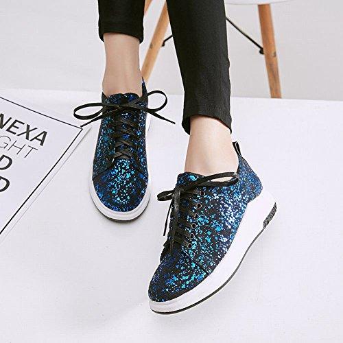 Latasa Womens Sequins Lace up Flat Oxford Shoes Blue Sequins vP2TQf3fR