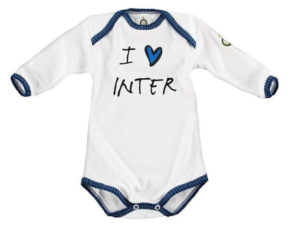 INTER body i love inter manica lunga in cotone bianco da neonato