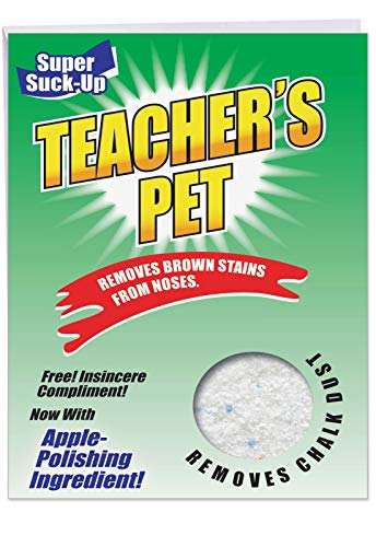 Teacher's Pet Teacher Thank You' Big Thank You Card with Envelope 8.5 x 11 Inch - Fake Laundry Detergent Powder Box, Funny Greeting Card for Personalized Suck Up Message of Appreciation J3860TTG