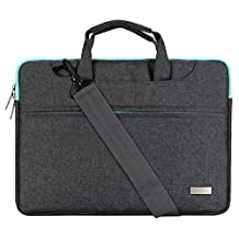 Mosiso Polyester Laptop Shoulder Bag Briefcase Sleeve Case Cover Handbag for 14-15.6 Inch MacBook Pro 2016, MacBook Pro, Notebook Computer with Back Belt for Trolly Case, Gray