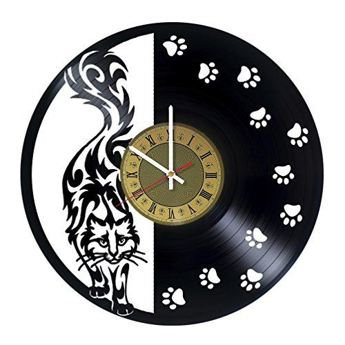 (Pieceful Black Cat vinyl wall clock - gift idea for girls women friends girlfriend and teens - home & office bedroom wall decor)