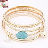 chili and peaches - Small chili with paragraph Europe and America peach heart turquoise pearl multi-turn wave of women's fashion wild temperament Bracelet