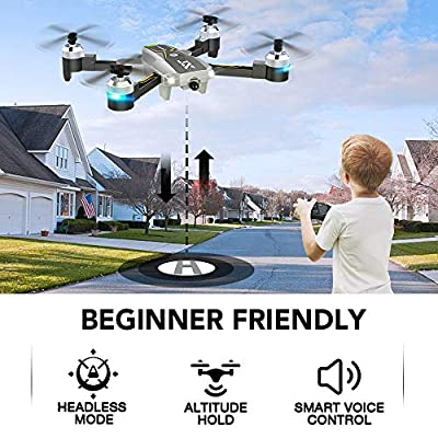 Drones with Camera for Adults - 120° Wide-Angle 720P HD Camera, Beginner Friendly, RTF One Key Take Off/Landing, Optical Flow Positioning, Trajectory Flight, APP Control, Altitude Hold, Headless Mode