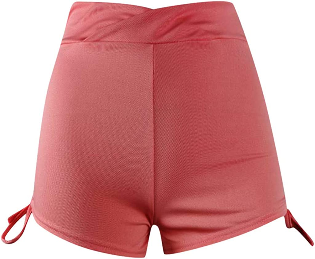 Womens Casual Cotton High Waist Bermuda Shorts with Drawstring TOTOD Basic Soild Color Mini Yoga Shorts