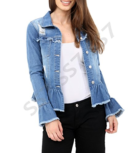 Denim Jean Bleu Ladies Ss7 Femmes Taille Peplum Jackets Jacket 36 44 Volantée Blue AqAtUxz