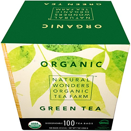 Natural Wonders USDA Organic Green Individualy Wrapped Tea Bags, 100 - Glasses Price Space