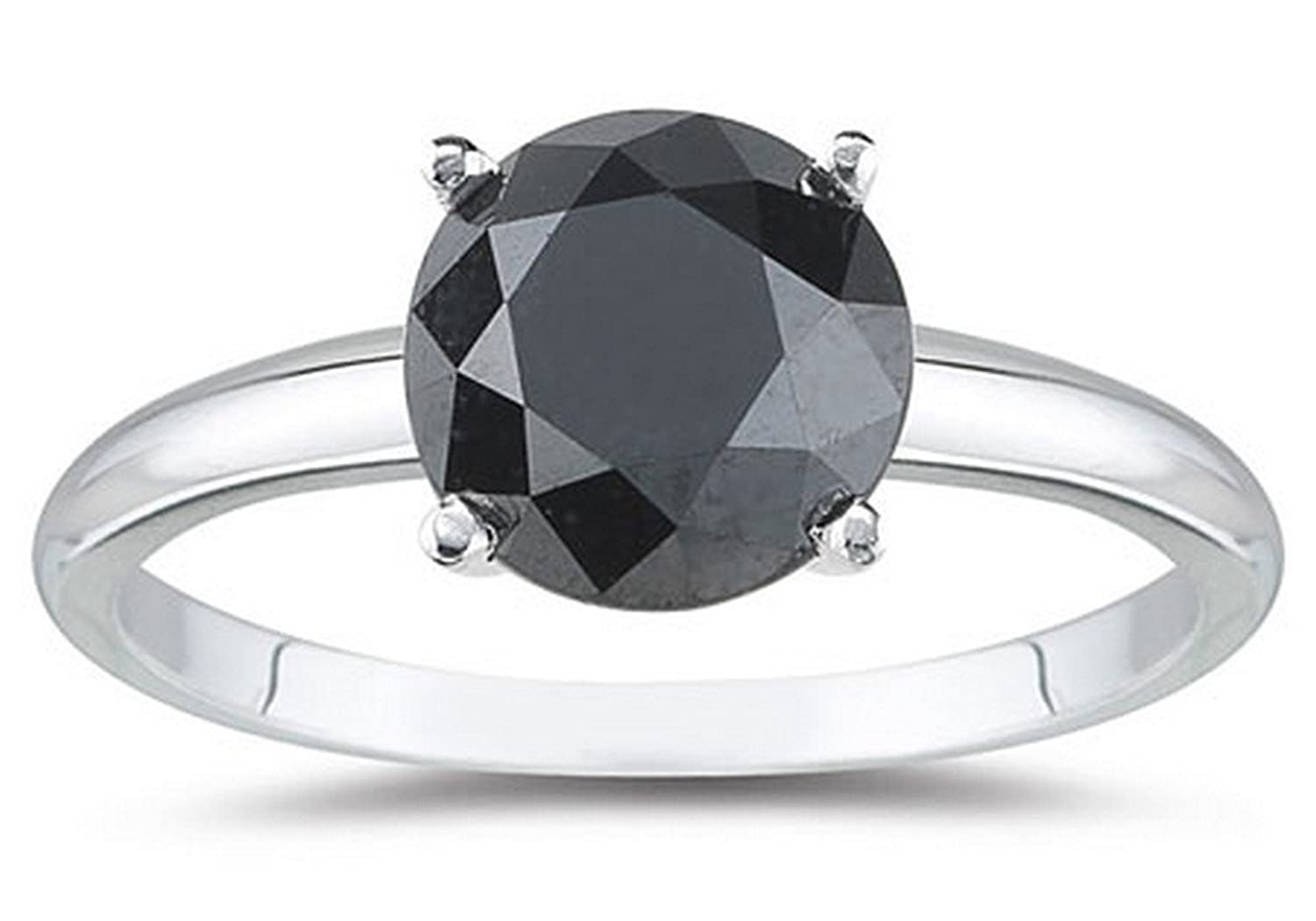 1/2-5 Carat Total Weight Round 14K White Gold Black Diamond Ring (AAA Quality)