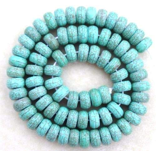 Magnesite C Grade Turquoise Smooth 10mm Round Rondelle Heishi Disc Chakra Beads