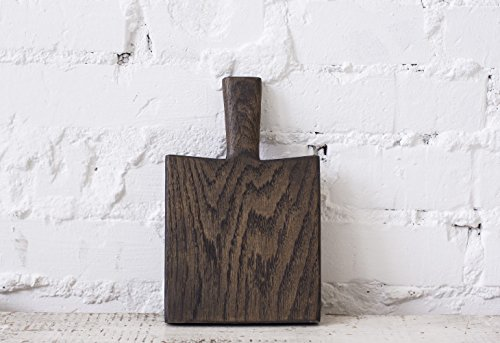 Serving Board (Vintage Wood Board, Bread Board, Cheese board), 6-Inch, Solid Oak Wood (Dark brown) ()