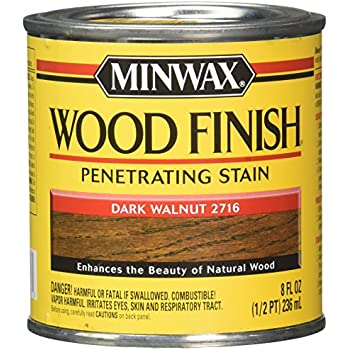 Minwax 22716 - 8 fl oz (1/2 pint) Wood Finish Interior Wood Stain, Dark Walnut 2716
