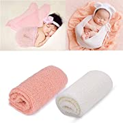 Newborn Baby Ripple Wrap, Outgeek 2 Pack Long Ripple Wrap DIY Newborn Baby Photography Props(White and Pink)